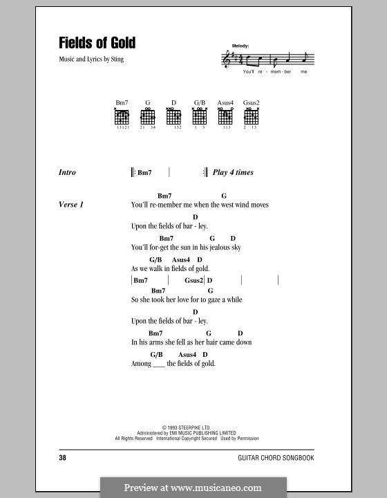Fields of Gold: Letras e Acordes (com caixa de acordes) by Sting