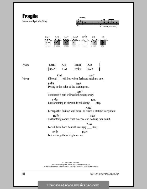 Fragile: Letras e Acordes (com caixa de acordes) by Sting
