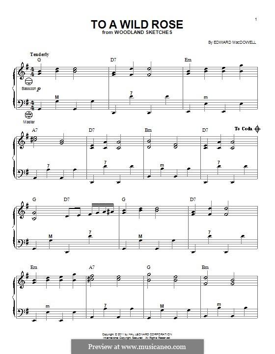 No.1 To a Wild Rose: para acordeão by Edward MacDowell