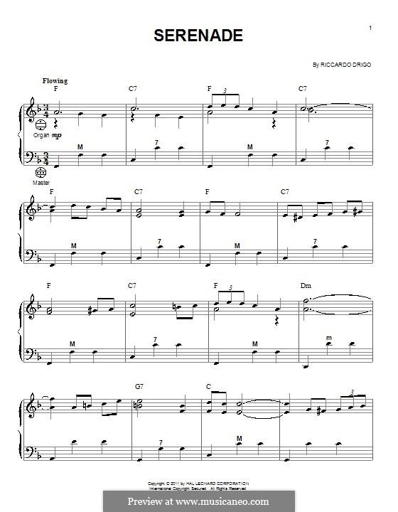 Les millions d'Arlequin: Serenade, for accordion by Riccardo Drigo