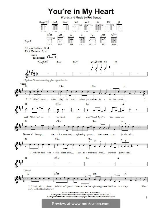 You're in My Heart: Para guitarra (versão facil) by Rod Stewart