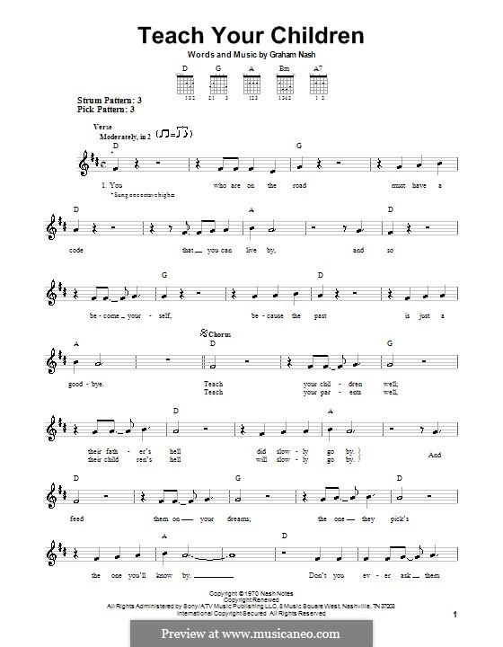 Teach Your Children (Crosby, Stills & Nash): Para guitarra (versão facil) by Graham Nash