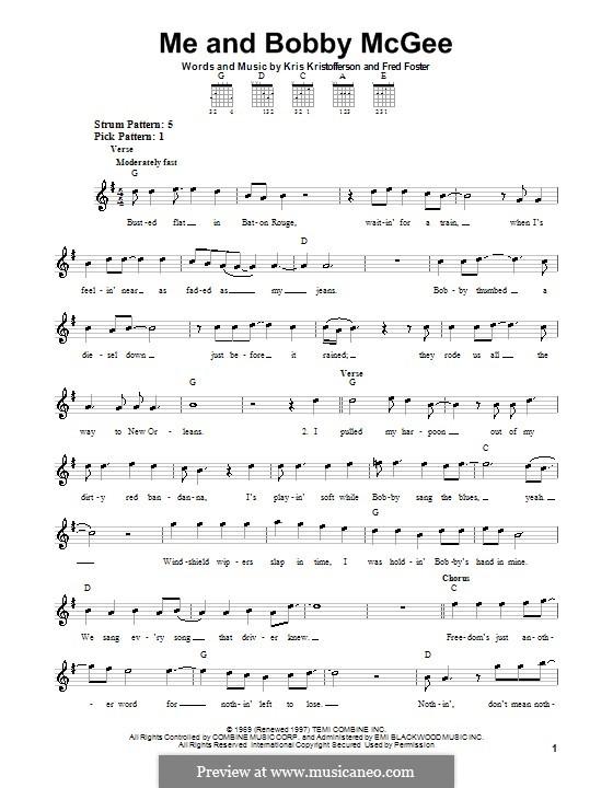 Me and Bobby McGee (Janis Joplin): Para guitarra (versão facil) by Fred Foster, Kris Kristofferson
