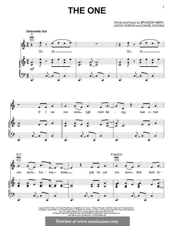 The One (Brandon Heath): Para vocais e piano (ou Guitarra) by Dan Muckala, Jason David Ingram