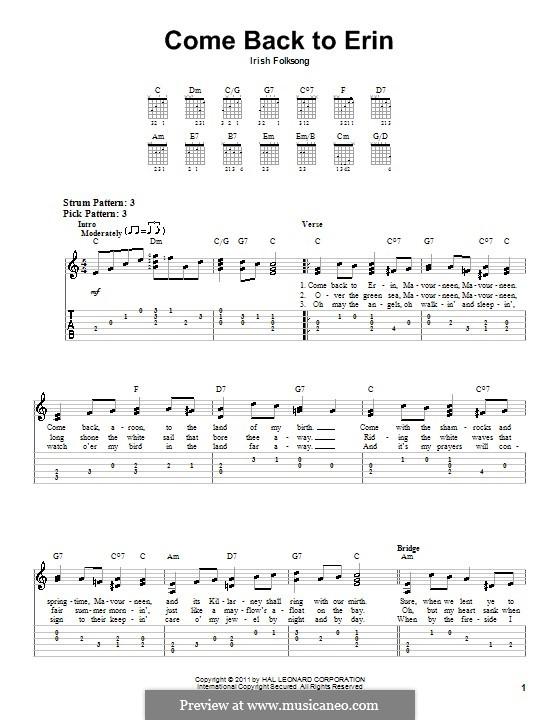 Come Back to Erin: Para guitarra (versão facil) by folklore