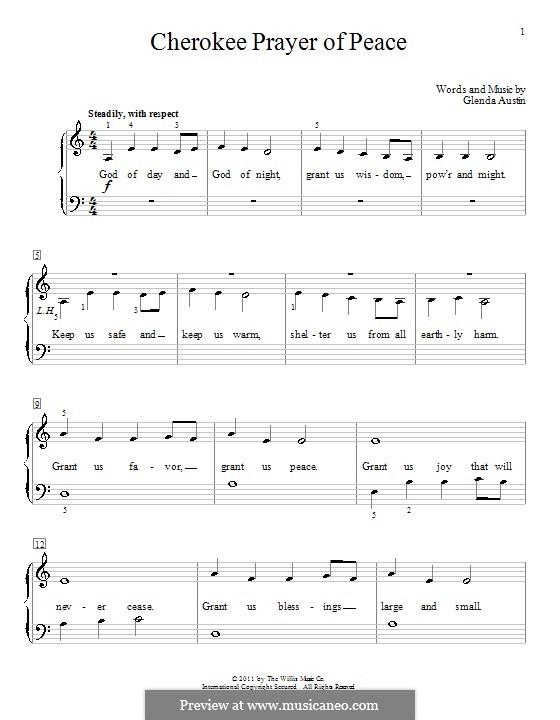 Cherokee Prayer Of Peace: Para Piano by Glenda Austin