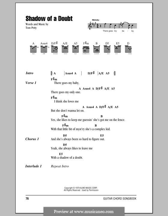 Shadow of a Doubt: Letras e Acordes (com caixa de acordes) by Tom Petty