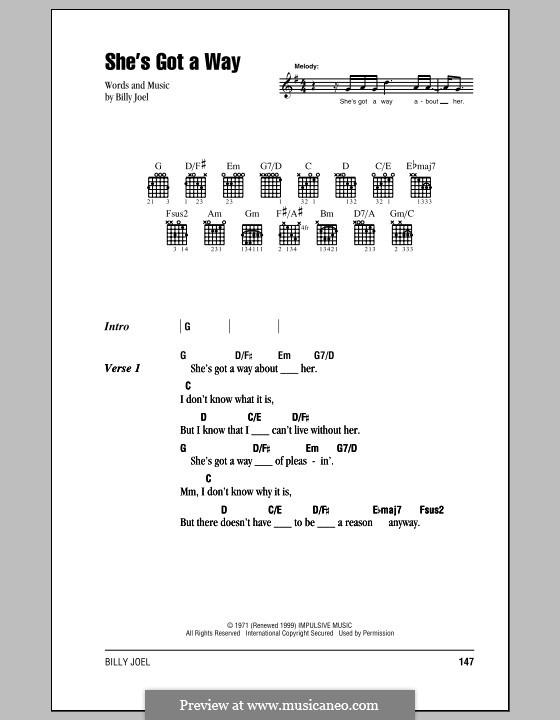 She's Got a Way: Letras e Acordes (com caixa de acordes) by Billy Joel