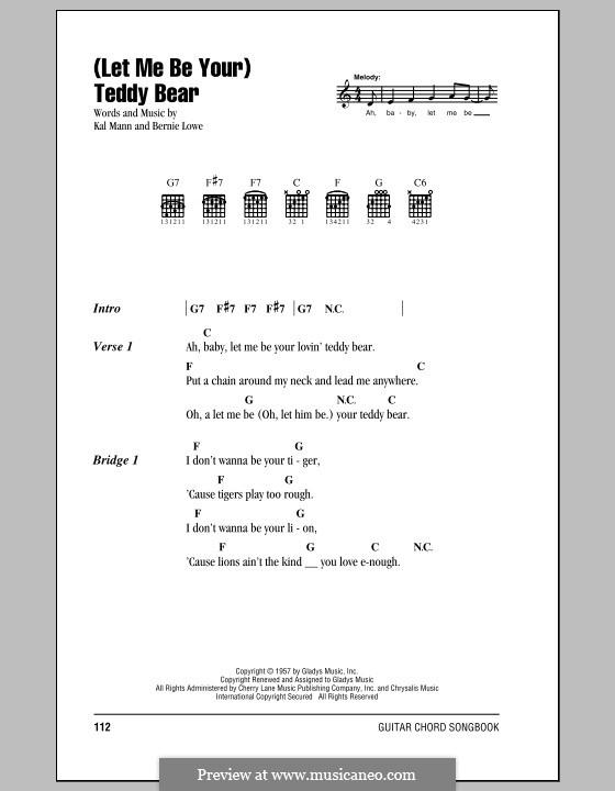 (Let Me Be Your) Teddy Bear (Elvis Presley): Letras e Acordes (com caixa de acordes) by Bernie Lowe, Kal Mann