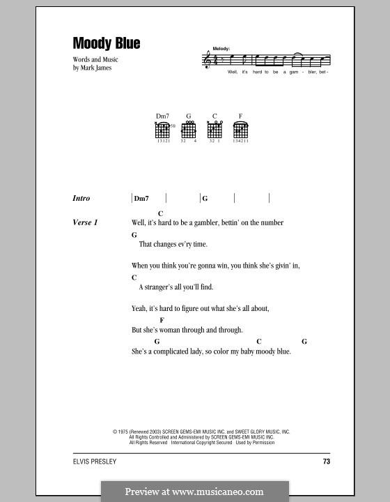 Moody Blue (Elvis Presley): Letras e Acordes (com caixa de acordes) by Mark James