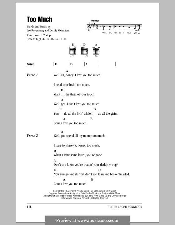 Too Much (Elvis Presley): Letras e Acordes (com caixa de acordes) by Bernard Weinman, Lee Rosenberg