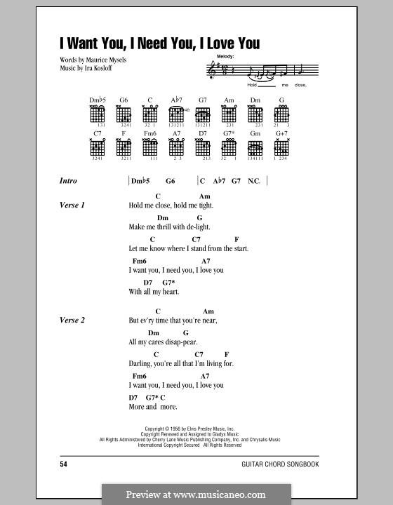 I Want You, I Need You, I Love You (Elvis Presley): Letras e Acordes (com caixa de acordes) by Ira Kosloff
