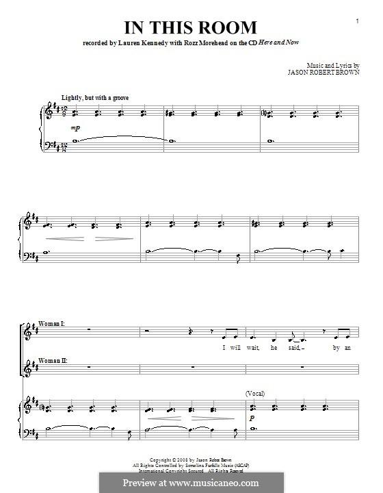 In This Room: Para vocais e piano by Jason Robert Brown