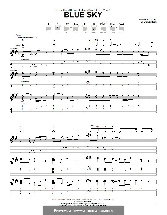 Blue Sky (The Allman Brothers Band): Para Guitarra by Dickey Betts