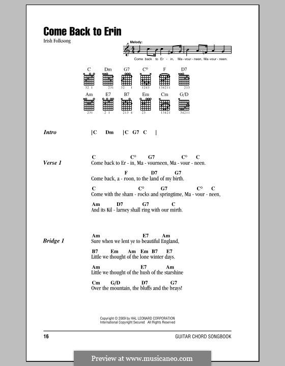 Come Back to Erin: Letras e Acordes (com caixa de acordes) by folklore
