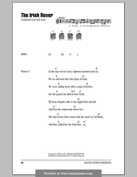 The Irish Rover: Letras e Acordes (com caixa de acordes) by folklore