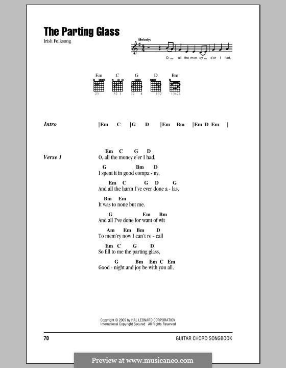 The Parting Glass: Letras e Acordes (com caixa de acordes) by folklore