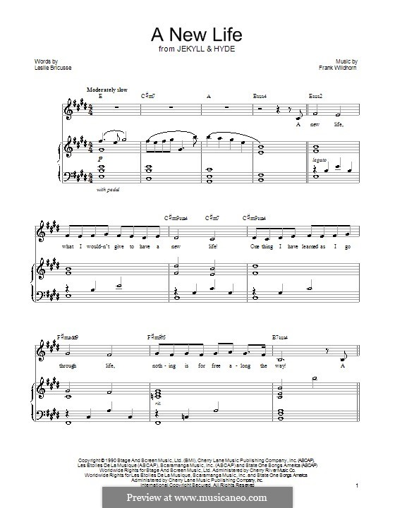 A New Life (from Jekyll and Hyde): Para vocais e piano by Frank Wildhorn