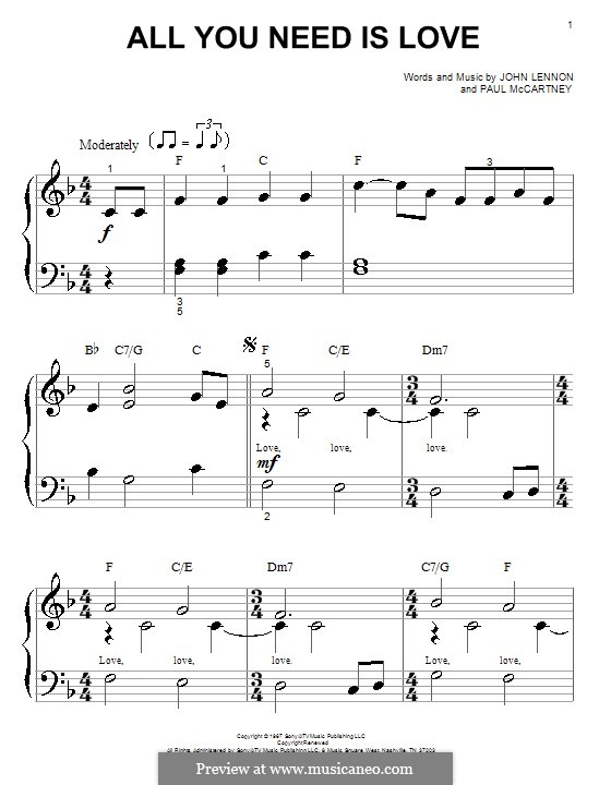 All You Need Is Love (The Beatles): para piano (versão facil) by John Lennon, Paul McCartney