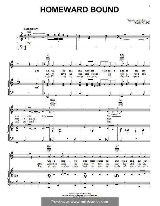 Homeward Bound (Simon & Garfunkel): Para vocais e piano (ou Guitarra) by Paul Simon