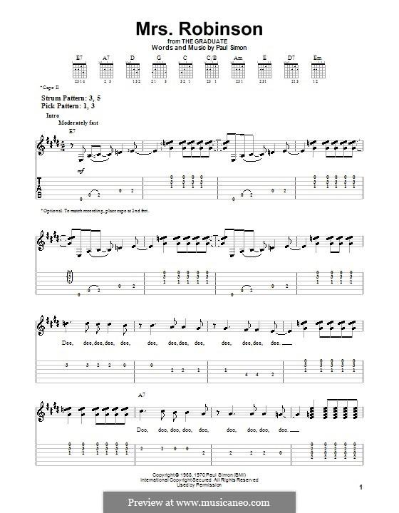 Mrs. Robinson (Simon & Garfunkel): Para guitarra (versão facil) by Paul Simon