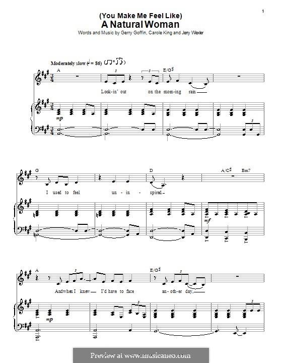 (You Make Me Feel Like) A Natural Woman (Aretha Franklin): Para vocais e piano by Carole King, Gerry Goffin, Jerry Wexler