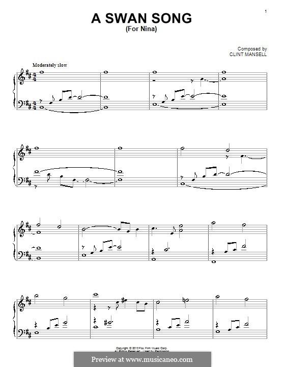 A Swan Song (for Nina): Para Piano by Clint Mansell