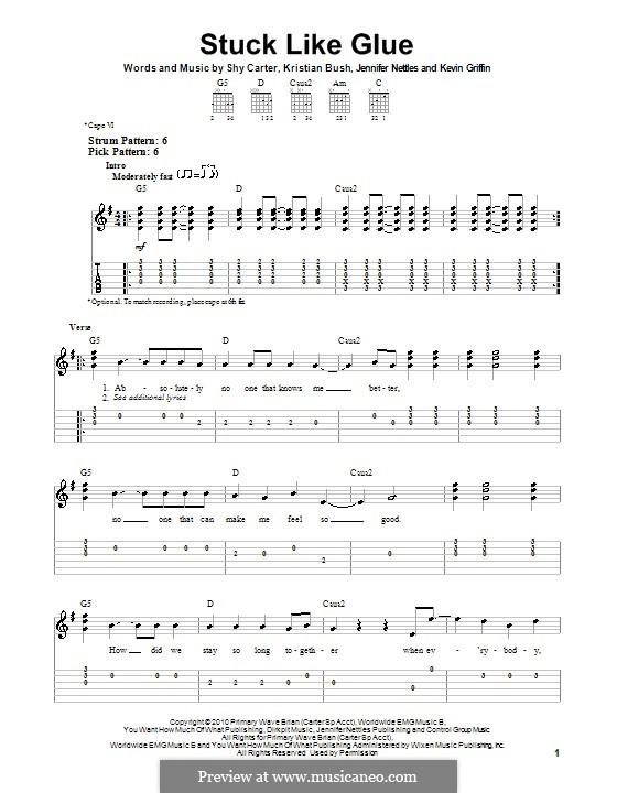 Stuck Like Glue (Sugarland): Para guitarra (versão facil) by Jennifer Nettles, Kevin Griffin, Kristian Bush, Shy Carter