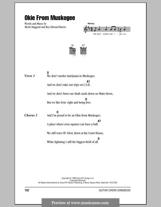 Okie from Muskogee: Letras e Acordes (com caixa de acordes) by Roy Edward Burris