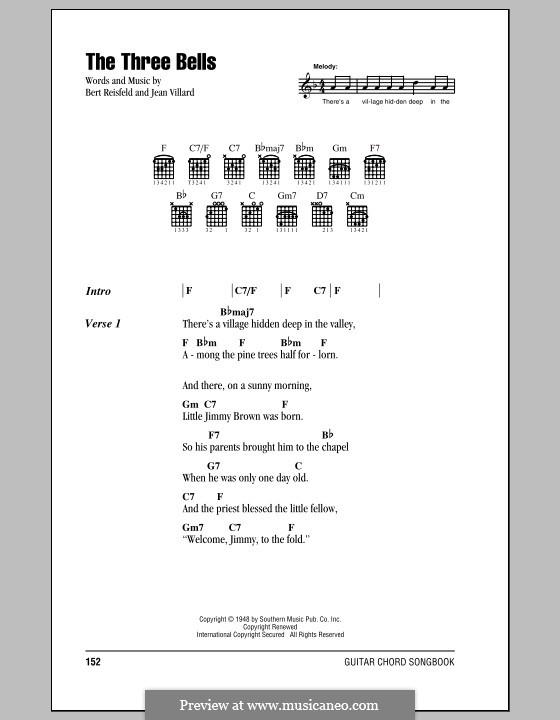 The Three Bells (Les Trois Cloches): Letras e Acordes (com caixa de acordes) by Jean Villard