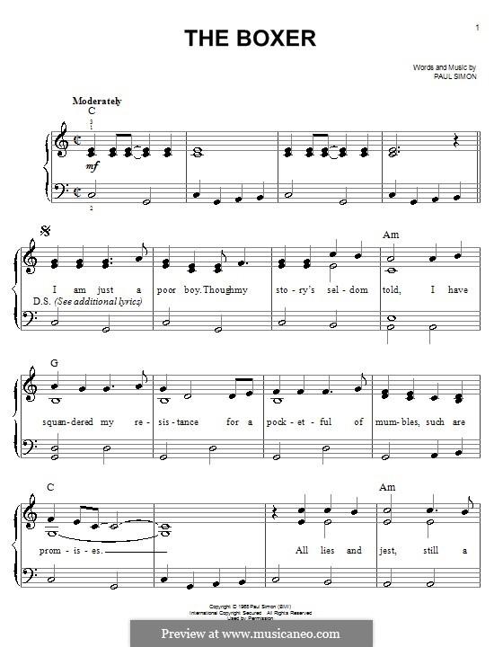 The Boxer: Para Piano by Paul Simon