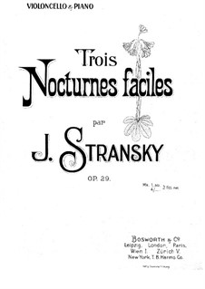 Three Nocturnes for Cello and Piano, Op.29: Three Nocturnes for Cello and Piano by Josef Stransky
