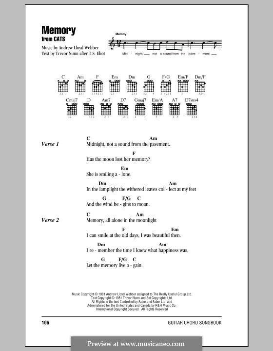 Memory (from Cats): Letras e Acordes (com caixa de acordes) by Andrew Lloyd Webber