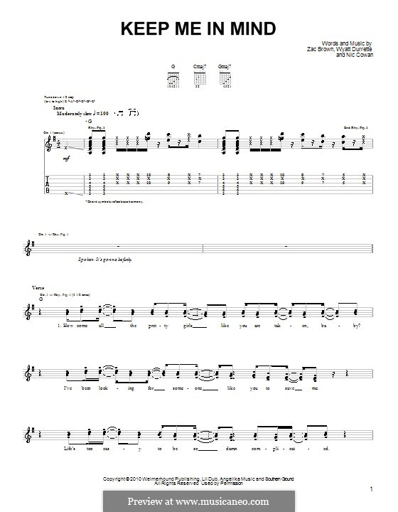 Keep Me in Mind (Zac Brown Band): Para guitarra (versão facil) by Nic Cowan, Wyatt Durrette, Zac Brown