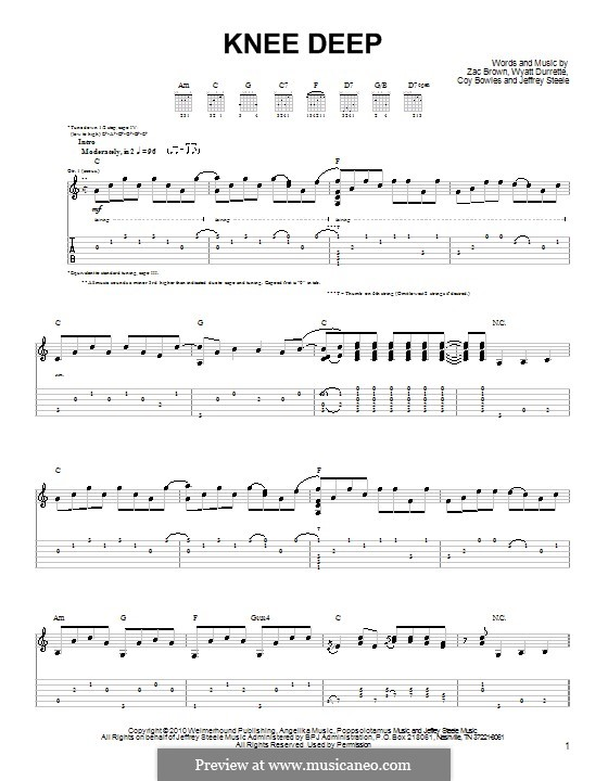 Knee Deep (Zac Brown Band): Para guitarra (versão facil) by Coy Bowles, Jeffrey Steele, Wyatt Durrette, Zac Brown