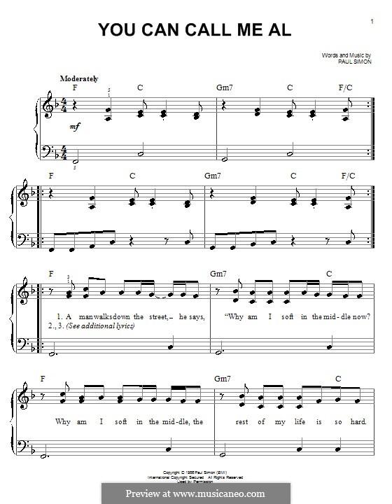 You Can Call Me Al: Facil para o piano by Paul Simon