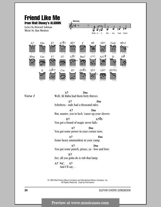 Friend Like Me (from Aladdin): Letras e Acordes (com caixa de acordes) by Alan Menken