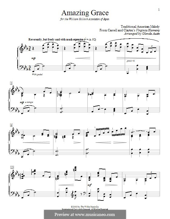 Amazing Grace, for Piano: E flat maior by folklore