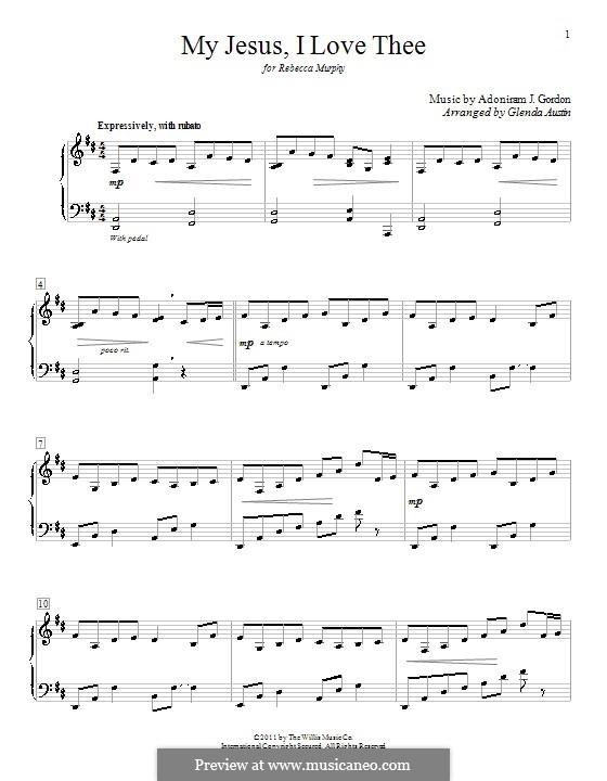 My Jesus, I Love Thee: Para Piano by Adoniram Judson Gordon