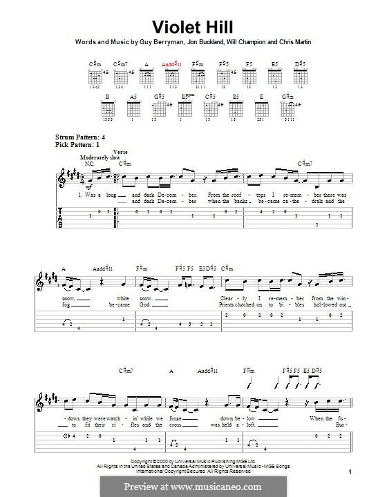 Violet Hill (Coldplay): Para guitarra (versão facil) by Chris Martin, Guy Berryman, Jonny Buckland, Will Champion