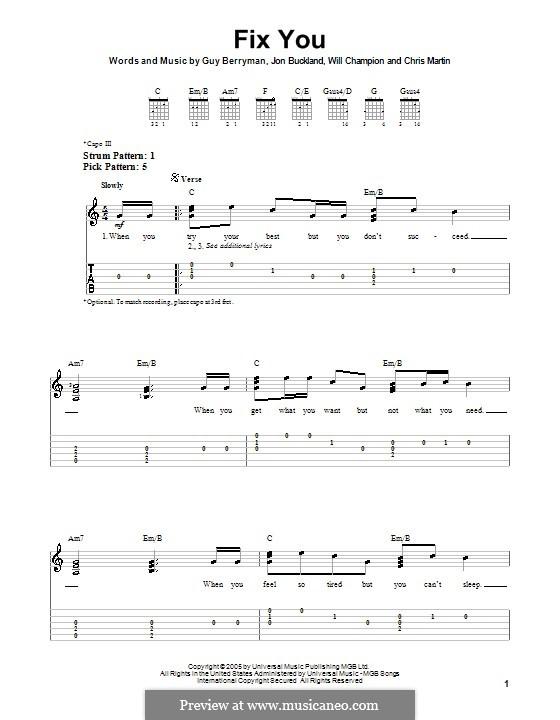 Fix You (Coldplay): facil para guitarra by Chris Martin, Guy Berryman, Jonny Buckland, Will Champion