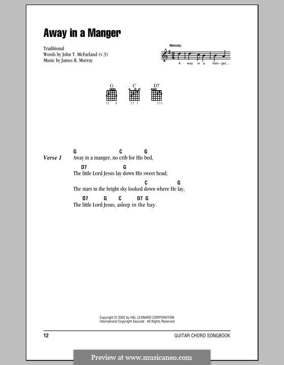 Away in a Manger (Printable Scores): Letras e Acordes (com caixa de acordes) by James R. Murray