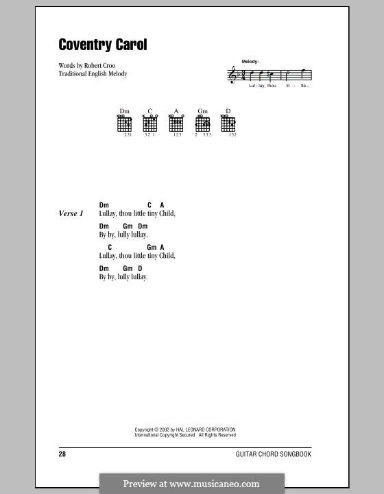 Coventry Carol: Letras e Acordes (com caixa de acordes) by folklore