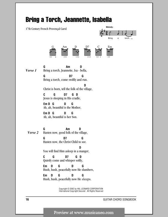 Bring a Torch, Jeannette Isabella: Letras e Acordes (com caixa de acordes) by folklore