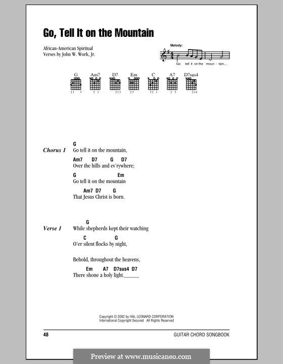Go, Tell it on the Mountain (Printable Scores): Letras e Acordes (com caixa de acordes) by folklore