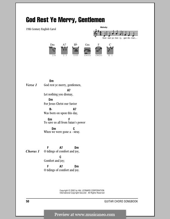 God Rest You Merry, Gentlemen (Printable Scores): Letras e Acordes (com caixa de acordes) by folklore