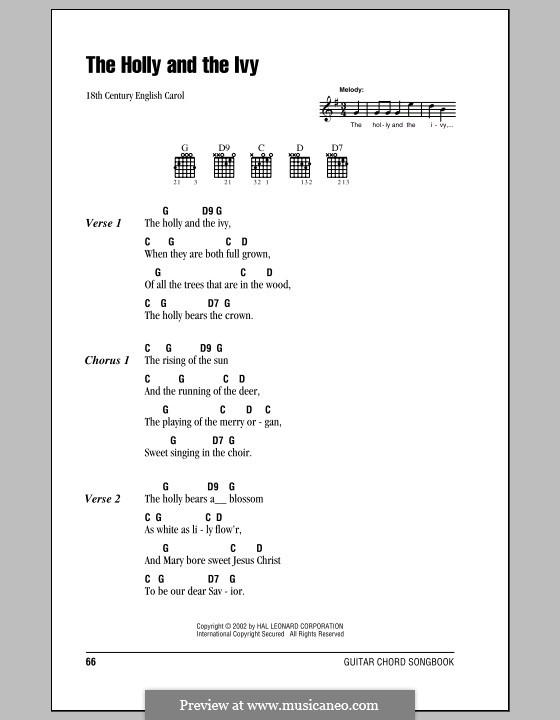 The Holly and the Ivy: Letras e Acordes (com caixa de acordes) by folklore