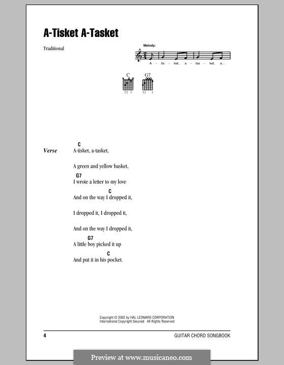 A-tisket, A-tasket: Letras e Acordes (com caixa de acordes) by folklore