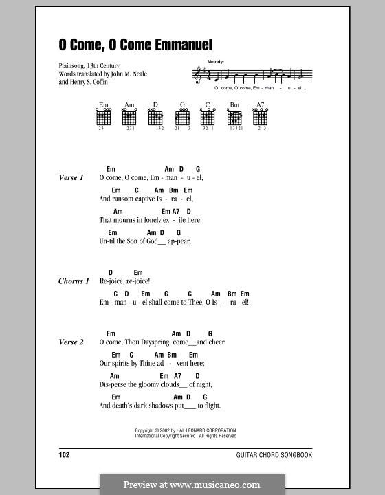 O Come, O Come, Emmanuel: Letras e Acordes (com caixa de acordes) by folklore
