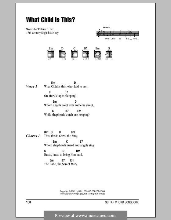 What Child is This (Christmas Carol): Letras e Acordes (com caixa de acordes) by folklore
